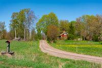 Old red wooden cottage in Sweden