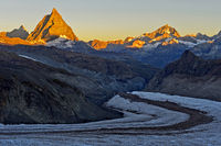 Morning sun at the Matterhorn, Zermatt, Valais, Switzerland