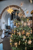 AMRUM, GERMANY - JANUARY 01, 2019: Christmas Tree in the Church of Nebel on the Island Amrum in Germ
