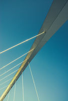 Blue Sky Suspension Bridge Abstract