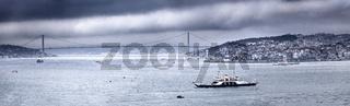 Panoramic view of Bosphorus strait from Topkapi palace, Istanbul