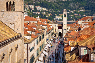 Famous Stradun street in Dubrovnik view from walls