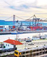 Lisbon commercial port, city bridge