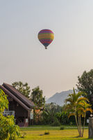 Hot air balloon flying over Vang Vieng