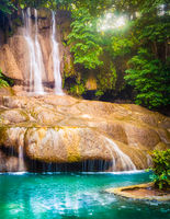 Beautiful waterfall at Erawan national park, Thailand