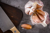Garlic on kitchen countertop