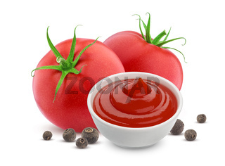 Ketchup in bowl, fresh tomatoes isolated