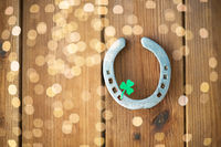 horseshoe with shamrock on wooden background