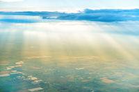 Airplane view of village landscape