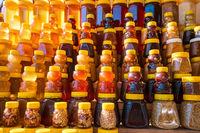 fresh organic honey on farm market