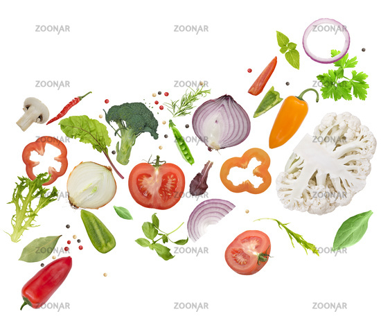 fresh vegetables, herbs and spices  on white background