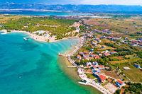 Aerial view of Zaton tourist waterfront and Velebit mountain background