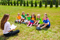 Extended day group in the summer outdoors