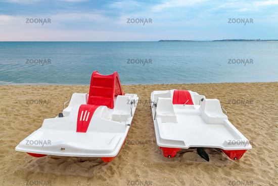 A pedal boat at the beach in Sunny Beach on the Black Sea coast of Bulgaria