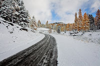 First snow in a mountain pass