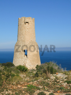 Torre Del Gerro, old tower in Denia. Mediteranean sea.