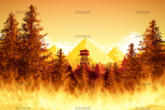 forest fires with watchtower