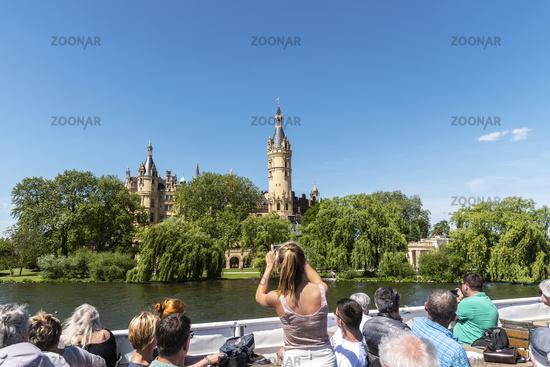 boat trip, Schwerin castle, Schwerin lake, Schwerin, Mecklenburg-Western Pomerania, Germany, Europe