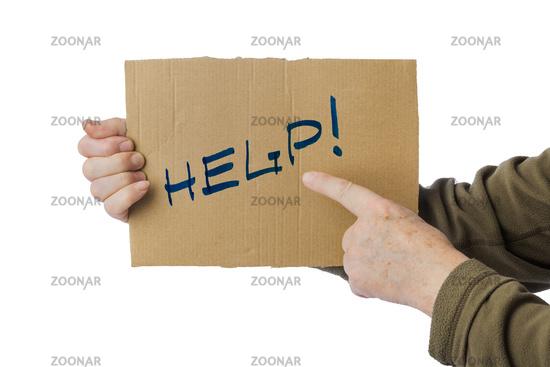 Hand with cardboard Help