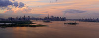 High Aerial View New York Panoramic Jersey City Brooklyn Statue of Liberty