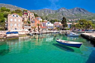 Idyllic village of Mlini in Dubrovnik archipelago view