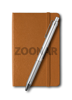 Leather closed notebook and pen isolated on white