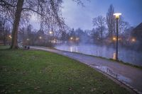 The river Erft in the evening with fog.