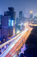 elevated road at night in shanghai