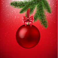 Xmas Red Background With Christmas Ball And Firtree