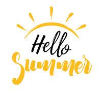 Hello Summer Inscription with a Sun