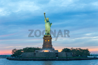 Statue of Liberty at dusk, New York City, USA