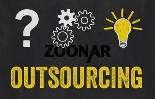 Question Mark, Gears, Light Bulb Concept - Outsourcing