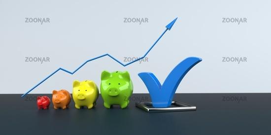 Piggy Banks Growth Chart Blue Tick