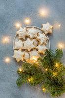 German Zimtsterne Christmas cookies.