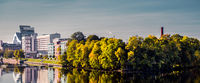 Panoramic view embankment of the Riga city in autumn. Latvia, Northern Europe