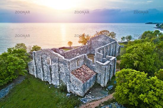 Island of Krk Fulfinum Mirine basilica ruins near Omišalj aerial view at sunset