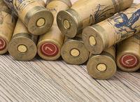 Hunting cartridges of 12 gauge for shotgun on wooden background. Macro shot.