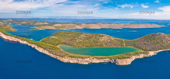 Telascica nature park and green Mir lake on Dugi Otok island aerial panoramic view