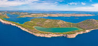 Telascica nature park and green Mir lake on Dugi Otok island aerial panoramic view