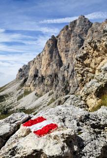 Trail mark on a stone
