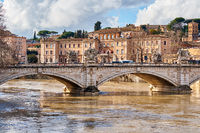 Rome and Tiber river with high water