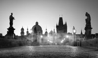 Charles Bridge and fog