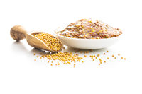 Whole grain mustard and mustard seeds.