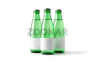 Colored blank bottles with labels, mockup for beverages