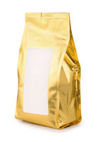 Golden foil food bag with blank label
