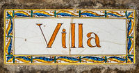 Ornate Painted Villa Sign