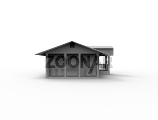3d rendering of a small cabin house isolated in white background