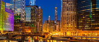 Chicago downtown night sunset panorama