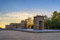 Madrid Spain, city skyline sunset at Temple of Debod