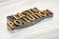 plastic pollution typography and concept
